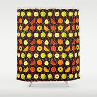 fruit Shower Curtains featuring FRUIT by badOdds