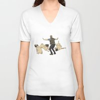 pugs V-neck T-shirts featuring Jurassic Pugs by The Pug Shop