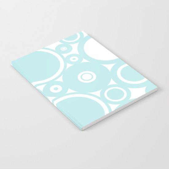 Blue dots and circles - abstract patterns - aqua Notebook