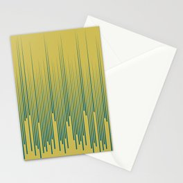 Tropical Dark Teal Minimal Frequency Line Art Inspired by Sherwin Williams 2020 Trending Color Oceanside SW6496 on Dark Yellow Stationery Cards