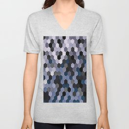 Honeycomb Pattern In Gray and Blue Wintry Colors Unisex V-Neck