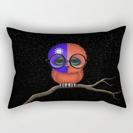 Baby Owl with Glasses and Taiwanese Flag Rectangular Pillow