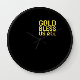 Gold Bless Us All Wall Clock
