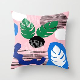 Damn Skippy - retro throwback memphis pop art neon pink pastel girly trendy hipster brooklyn socal  Throw Pillow