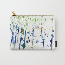 Artistic modern blue green watercolor splatters Carry-All Pouch