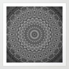 MANDALA EYE OF POWER BLACK WHITE GRAY Art Print