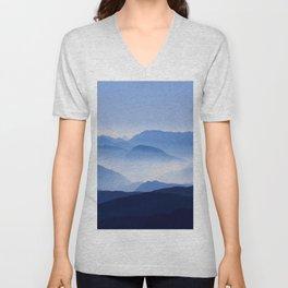 Periwinkle Landscape Mountains Parallax Unisex V-Neck