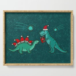 Cute Christmas Dinosaurs with Gift, Santa's Hats and Falling Stars, Teal Green Colors Serving Tray