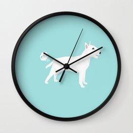 Bull Terrier white dog breed funny dog fart Wall Clock