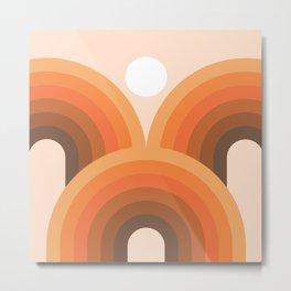 Mid Century Modern Geometric 33 (Rainbow and Sun Abstraction) Metal Print