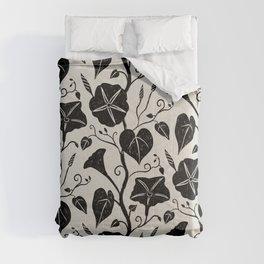 Black Moonflower creeper on neutral Comforters