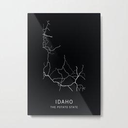 Idaho State Road Map Metal Print