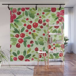 Watercolor Holly Pattern - Kitschy Christmas Holiday Print in Green and Red Wall Mural