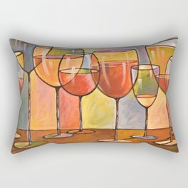 Whites and Reds ... abstract wine glass art, kitchen bar prints Rectangular Pillow