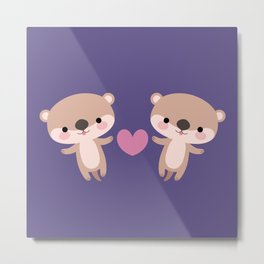 Kawaii otters Metal Print