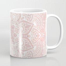 Mandala Yoga Love, Blush Pink Floral Coffee Mug