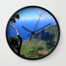 Hawaiian Treasure: Kalalau Lookout on Kauai Island Wall Clock