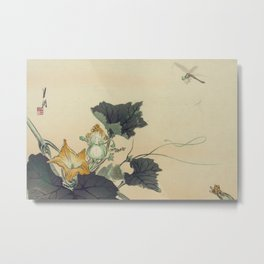 Japanese Woodcut: Dragonfly and Pumpkin Blossoms Metal Print