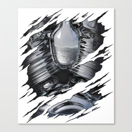 Chrome Engine Robot Ripped Reveal Canvas Print