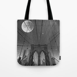 Blood Moon over Brooklyn Bridge and New York City Tote Bag