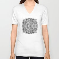 weed V-neck T-shirts featuring Mandala Weed by Bad Mandala