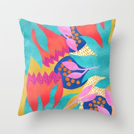 Bold Flower Pattern Yellow Background Throw Pillow