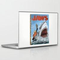 jaws Laptop & iPad Skins featuring Jaws by Tom McWeeney