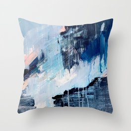 Vibes: an abstract mixed media piece in blues and pinks by Alyssa Hamilton Art Throw Pillow