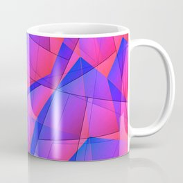 Bright contrasting fragments of crystals on irregularly shaped blue and pink triangles. Coffee Mug