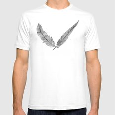 Two Feathers MEDIUM White Mens Fitted Tee