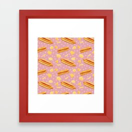 Hot Dogs and Chips - on Pink Framed Art Print
