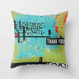 Thank You Digital Art Collage Throw Pillow