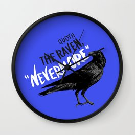 Nevermore Raven Blue Wall Clock