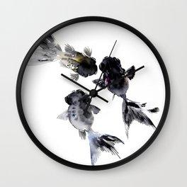 Black Moor, Feng Shui Koi Fish Art, Three Fish black fish decor Wall Clock