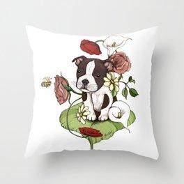 Boston Terrier Puppy Bouquet Throw Pillow