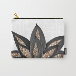 Gray Black Agave with Gold Glitter #2 #shiny #tropical #decor #art #society6 Carry-All Pouch