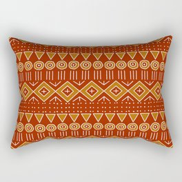 Mudcloth Style 2 in Red and Orange Rectangular Pillow