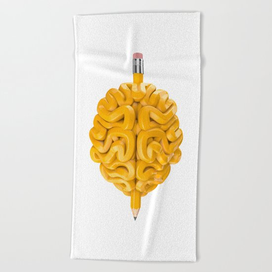 Pencil Brain Beach Towel