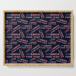 AMERICA FUCK YEAH writing with USA flag PATTERN Serving Tray