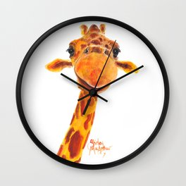 Nosey Giraffe ' MaDGe ' by Shirley MacArthur Wall Clock