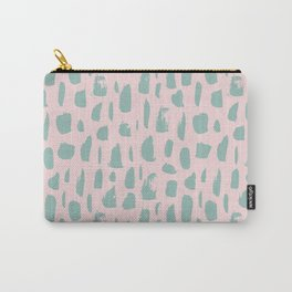 Handdrawn mint drops and dots on pink -Mix & Match with Simplicty of life Carry-All Pouch