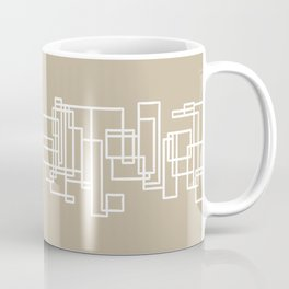 Architecture Stripe - Mid Century Modern Minimalist Geometric Pattern in White and Neutral Flax Solid Coffee Mug