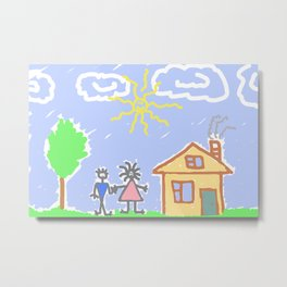 child's drawing with happy family Metal Print