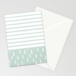 Mint White Stripes & Leaves Stationery Cards