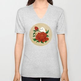 Minhwa: Crow-Tit and Peony A Type Unisex V-Neck