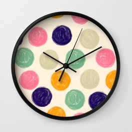 Palette of Colorful, Textured Paint Circles Pattern Wall Clock