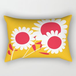 Flowers on Yellow by Friztin Rectangular Pillow