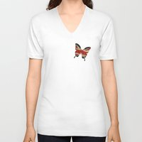 union jack V-neck T-shirts featuring butterfly Union and Jack by Steffi Louis