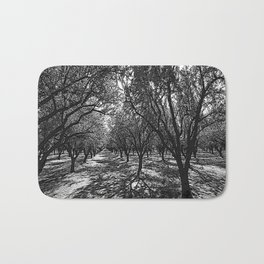 Black & White California Almond Orchard  Pencil Drawing Photo Badematte