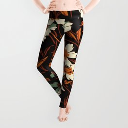 White gothic flowers Leggings